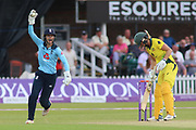 Ellyse Perry of Australia (8) caught behind off Anya Shrubsole of England (41) during the Royal London Women's One Day International match between England Women Cricket and Australia at the Fischer County Ground, Grace Road, Leicester, United Kingdom on 4 July 2019.
