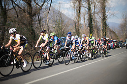 Lotta Lepistö (Cervélo-Bigla Cycling Team) rides at the back of the pack in the first lap of the small loop during the Trofeo Alfredo Binda - a 123.3km road race from Gavirate to Cittiglio on March 20, 2016 in Varese, Italy.