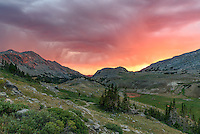 After pitching my tent and eating dinner, I watched this thunderstorm roll into the Bighorn Mountains. There's always something special about a sunset at 10,000 feet.
