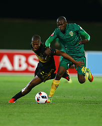 Tshepo Gumede of Cape Town City and Lerato Lamola of Golden Arrows during the 2016 Premier Soccer League match between Golden Arrows and Cape Town City FC held at the Prince Magogo Stadium in Durban, South Africa on the 14th September 2016<br /> <br /> Photo by:   Steve Haag / Real Time Images