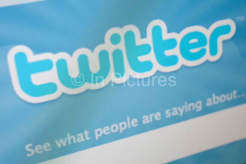 Computer screen showing the website of Twitter. Online social networking and information exchange site.
