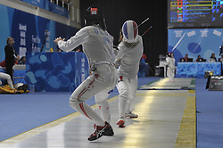 October 7, 2018 - Buenos Aires, Buenos Aires, Argentina - YUKA UENO of Japan and VENISSIA THEPAUT of France compete during the Women's Individual Foil on Day 1 of the Buenos Aires 2018 Youth Olympic Games at the Olympic Park. (Credit Image: © Julieta Ferrario/ZUMA Wire)