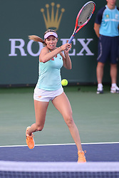 March 9, 2019 - Indian Wells, CA, U.S. - INDIAN WELLS, CA - MARCH 09: Danielle Collins (USA) hits a forehand during the BNP Paribas Open on March 9, 2019 at Indian Wells Tennis Garden in Indian Wells, CA. (Photo by George Walker/Icon Sportswire) (Credit Image: © George Walker/Icon SMI via ZUMA Press)