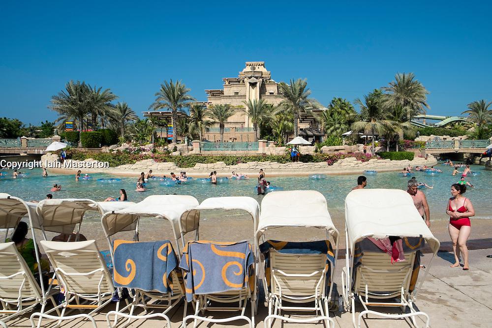 Aquaventure water park at the Atlantis Hotel on The Palm island in Dubai United Arab Emirates