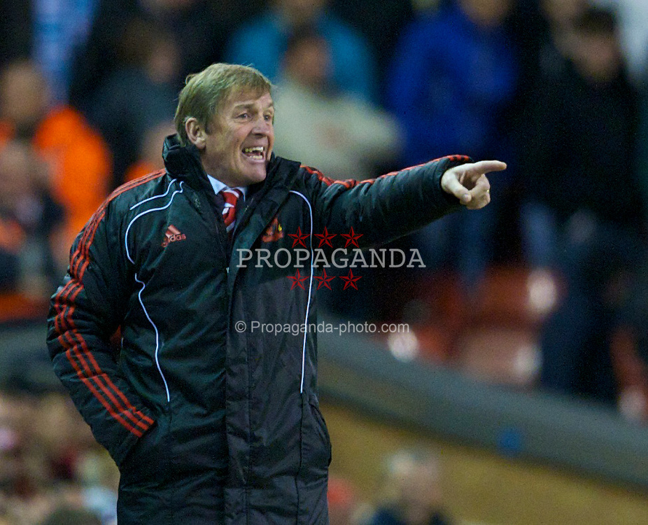 LIVERPOOL, ENGLAND - Monday, April 11, 2011: Liverpool's manager Kenny Dalglish MBE during the Premiership match against Manchester City at Anfield. (Photo by David Rawcliffe/Propaganda)