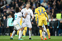 Real Madrid's Cristiano Ronaldo (l) and Juventus Football Club's Blaise Matuidi have words after Champions League Quarter-Finals 2nd leg match. April 11,2018. (ALTERPHOTOS/Acero)