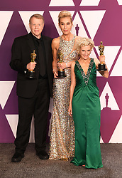 """Kate Biscoe, Greg Cannom and Patricia Dehaney, winners of the Best Makeup and Hairstyling Awards for """"ViceÓ at the 91st Annual Academy Awards (Oscars) presented by the Academy of Motion Picture Arts and Sciences.<br /> (Hollywood, CA, USA)"""