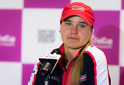 November 10, 2018 - Prague, Czech Republic - Sofia Kenin of the United States talks to the media at the 2018 Fed Cup Final between the Czech Republic and the United States of America (Credit Image: © AFP7 via ZUMA Wire)
