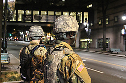 CHARLOTTE, Sept. 23, 2016 (Xinhua) -- Security officers stand guard in Charlotte, North Carolina, the United States, Sept. 22, 2016. A curfew order was issued in the U.S. city of Charlotte Thursday night as hundreds of protesters marched relatively peacefully through downtown to protest the fatal police shooting of a black man for the third night.  (Xinhua/Lu Jiafei)(zcc) (Credit Image: © Lu Jiafei/Xinhua via ZUMA Wire)
