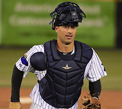 May 2, 2017 - Trenton, New Jersey, U.S - Trenton Thunder catcher JORGE SAEZ homered twice and was the Player of the Game in the Thunder's 9-6 victory over the Harrisburg Senators at ARM & HAMMER Park. (Credit Image: © Staton Rabin via ZUMA Wire)