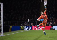 Football - 2019 / 2020 Sky Bet (EFL) Championship - Fulham vs. Leeds United<br /> <br /> Francisco Casilla (Leeds United) with a flying finger tip save to keep his team in the game at Craven Cottage<br /> <br /> COLORSPORT/DANIEL BEARHAM