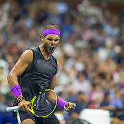 2019 US Open Tennis Tournament- Day Eight.  Rafael Nadal of Spain reacts to a break of serve in the third set during his match against Marin Cilic of Croatia in the Men's Singles round four match on Arthur Ashe Stadium during the 2019 US Open Tennis Tournament at the USTA Billie Jean King National Tennis Center on September 2nd, 2019 in Flushing, Queens, New York City.  (Photo by Tim Clayton/Corbis via Getty Images)