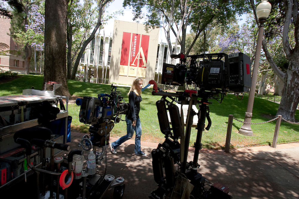 """Crew members set up shots during production for """"The Roommate"""" being filmed at University of Southern California on June 2, 2009"""