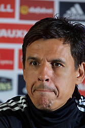 CARDIFF, WALES - Monday, May 23, 2016: Wales national team manager Chris Coleman during a press conference at the Vale Resort Hotel to announce his contract extension until the end of the 2018 World Cup Qualifying campaign. (Pic by David Rawcliffe/Propaganda)