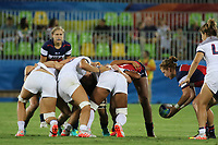 August 08, 2016; Rio de Janeiro, Brazil; USA Women's Eagles Sevens Alev Kelter feeds in a scrum against France during the Women's Rugby Sevens 5th Place Play-Off match on Day 3 of the Rio 2016 Olympic Games at Deodoro Stadium. Photo credit: Abel Barrientes - KLC fotos