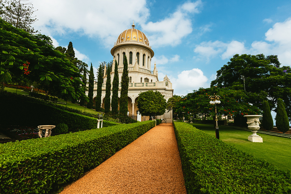 The Baha'i Shrine of the Bab and the surrounding Baha'i Gardens, a United Nations-designated World Heritage site on Mount Carmel in Haifa, northern Israel.