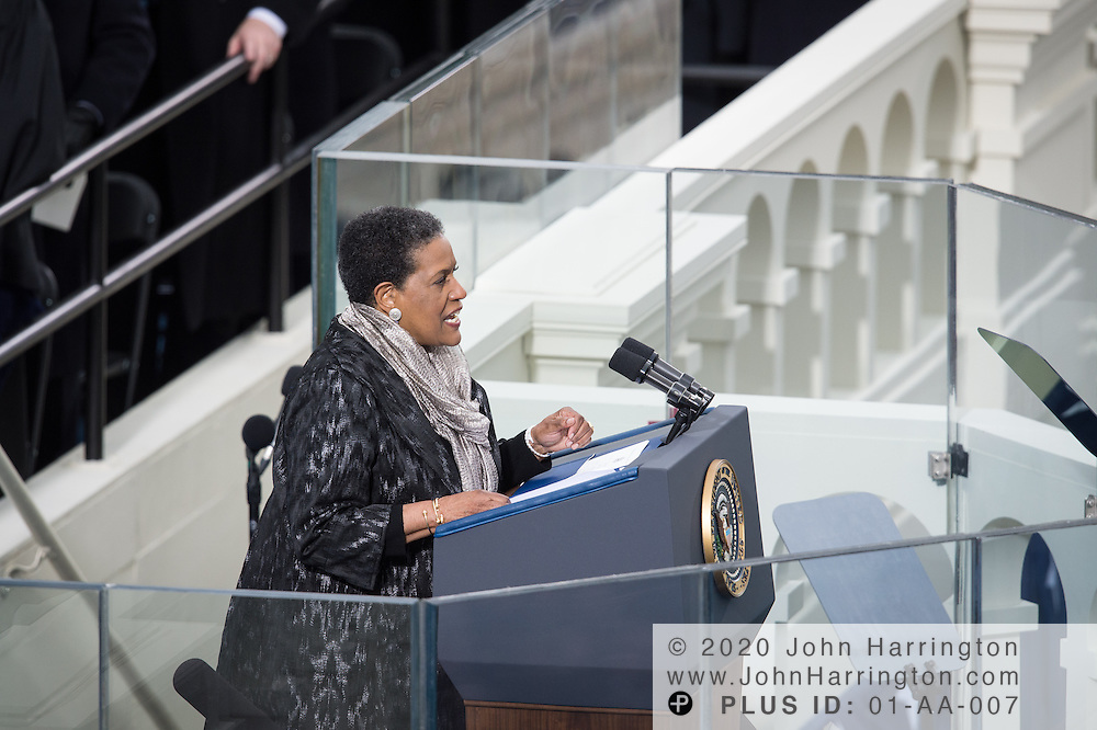 Myrlie Evers-Williams speaks during the 57th Presidential Inauguration of President Barack Obama at the U.S. Capitol Building in Washington, DC January 21, 2013.
