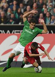 05.11.2011, Weserstadion, Bremen, GER, 1.FBL, Werder Bremen vs 1. FC Köln / Koeln, im Bild Sokratis (Bremen #22), Slawomir Peszko (Koeln #15)..// during the match Werder Bremen vs 1. FC Koeln on 2011/11/05, Weserstadion, Bremen, Germany..EXPA Pictures © 2011, PhotoCredit: EXPA/ nph/  Frisch       ****** out of GER / CRO  / BEL ******