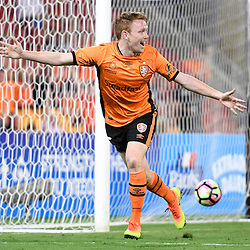 BRISBANE, AUSTRALIA - DECEMBER 22: Corey Brown of the Roar celebrates scoring a goal during the round 4 Foxtel National Youth League match between the Brisbane Roar and Melbourne City at AJ Kelly Field on December 22, 2016 in Brisbane, Australia. (Photo by Patrick Kearney/Brisbane Roar)