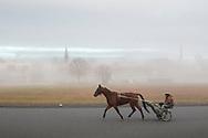 Goshen, New York - Morning fog at Goshen Historic Track on Nov. 25, 2018.