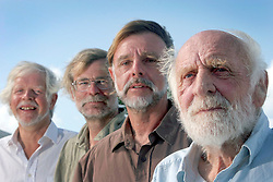 06 April 2011. St Maarten, Antilles, Caribbean.<br /> Antiki crew arrives after epic trans-Atlantic voyage. <br /> R/L Anthony Smith (84 yrs old) British adventurer, David Hildred, sailing master and British Virgin Islands resident,  Dr Andrew Bainbridge of Alberta, Canada and John Russell, solicitor and UK resident.<br /> Photo; Charlie Varley/varleypix.com