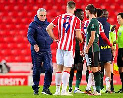 Tottenham Hotspur manager Jose Mourinho congratulates Sam Vokes of Stoke City after the final whistle - Mandatory by-line: Nick Browning/JMP - 23/12/2020 - FOOTBALL - Bet365 Stadium - Stoke-on-Trent, England - Stoke City v Tottenham Hotspur - Carabao Cup