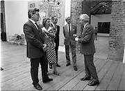 10/09/1988<br /> 09/10/1988<br /> 10 September 1988<br /> ROSC 1988 Exhibition at the Guinness Hop Store. <br /> Sir Norman Mcfarlane visits ROSC '88. Mr Pat Murphy, (right),Chairman of ROSC explains an exhibit to  Sir Norman Macfarlane, Chairman of Guinness plc (2nd from right) with Alderman Ben Briscoe, T.D. (3rd from right) Lord Mayor of Dublin during their visit to ROSC '88.
