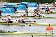 Eton Dorney, Windsor, Great Britain,..2012 London Olympic Regatta, Dorney Lake. Eton Rowing Centre, Berkshire[ Rowing]...Description; Women's Repechage. USA W2X,  Margot SHUMWAY and Sarah TROWBRIDGE, move awayf rom the start pontoon. Dorney Lake. 09:56:12  Tuesday  31/07/2012 [Mandatory Credit: Peter Spurrier/Intersport Images]  .