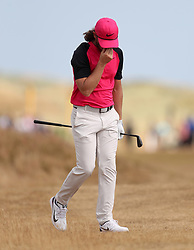 England's Tommy Fleetwood reacts after a bogey on the 5th during day four of The Open Championship 2018 at Carnoustie Golf Links, Angus.