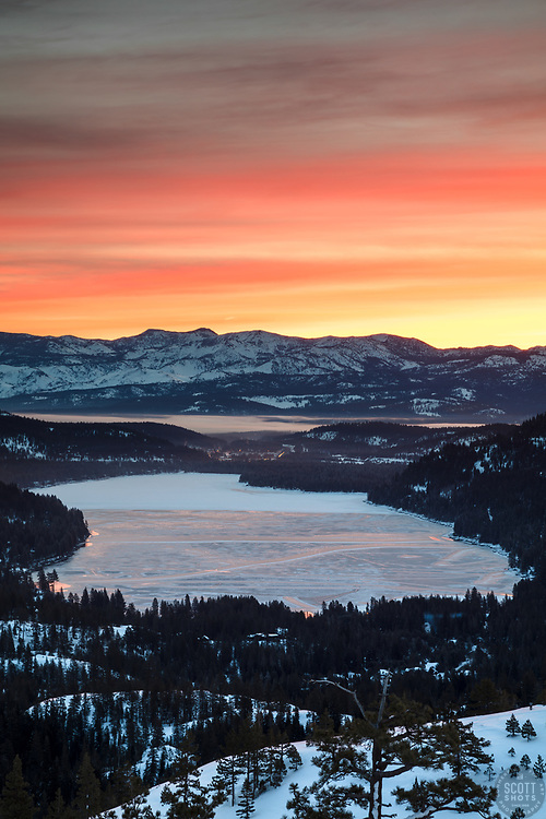 """""""Donner Lake Sunrise 15"""" - Sunrise photograph of a mostly frozen over Donner Lake in Truckee, California."""