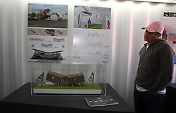 Dec 03 2007. New Orleans, Louisiana. Lower 9th Ward.<br /> Brad Pitt revisits the Lower 9th ward, devastated by Hurricane Katrina to present 'Make it Right' where architects' designs are unveiled to the public. <br /> Photo credit; Charlie Varley.