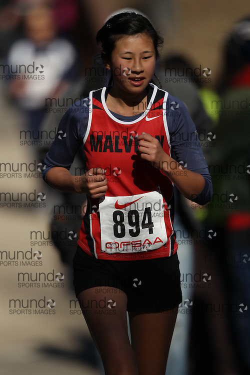 Tristan Woo of Malvern CI competes in the junior girls race at the 2011 OFSAA Cross Country Championships in Ottawa, Ontario, November 5, 2011..GEOFF ROBINS/ Mundo Sport Images