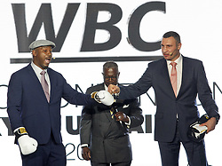 October 1, 2018 - Kiev, Ukraine - Former Boxing Champion LENNOX LEWIS (L) and former heavyweight boxing champion and current Mayor of Kiev VITALI KLITSCHKO (R) speak during the opening of the 56th World Boxing Convention in Kiev, Ukraine, on 1 October 2018. The WBC 56th congress in which take part boxing legends Evander Holyfield,Lennox Lewis, Eric Morales and about 700 participants from 160 countries runs in Kiev from from September 30 to October 5. (Credit Image: © Serg Glovny/ZUMA Wire)