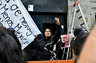 MEXICO CITY, MEXICO - SEPTEMBER 6: Erika Martinez reacts During a protest of women who seize the facilities of the organization who supposedly should defend human rights, due the victims' cases have not been solved, feminist groups take the facilities of the Human Rights Commission (CNDH) to use it as shelter for victims of gender - violence On September 6, 2020 in Mexico City, Mexico