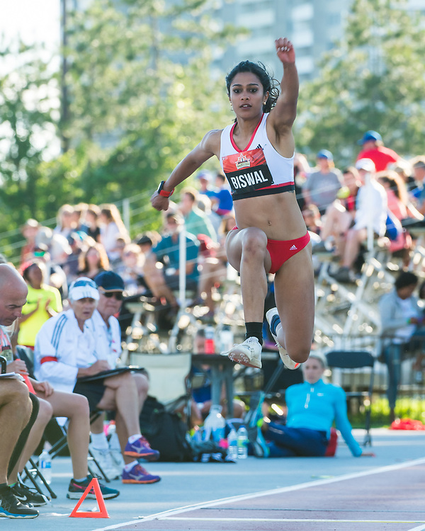 OTTAWA - JULY 08: Divya Biswalhe competes in the Women's Triple Jump during the 2017 Canadian Track and Field Championships at the Terry Fox Athletic Facility in Ottawa, ON., Canada on July 7, 2017.<br /> <br /> Photo: Steve Kingsman for Sports Ottawa/Ottawa Sportspage