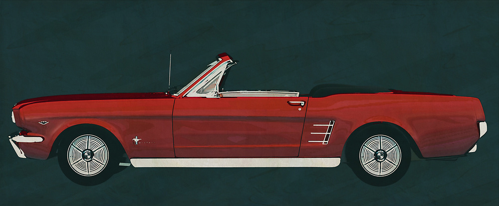 Ford has brought different versions of their Ford Mustang on the market but this Ford Mustang Convertible from 1964 is pure nostalgia. A powerful engine makes this Ford Mustang roar and with an open roof it's fantastic touring around with this 1964 Ford Mustang Convertible.<br /> <br /> This painting of a Ford Mustang Convertible from 1964 can be printed very large on different materials. The work has a panoramic ratio and is very suitable to add a detail in a workspace, showroom or just at home that will impress your visitors. –<br /> <br /> BUY THIS PRINT AT<br /> <br /> FINE ART AMERICA<br /> ENGLISH<br /> https://janke.pixels.com/featured/ford-mustang-convertible-from-1964-pure-nostalgia-for-boys-and-g-jan-keteleer.html<br /> <br /> WADM / OH MY PRINTS<br /> DUTCH / FRENCH / GERMAN<br /> https://www.werkaandemuur.nl/nl/shopwerk/Ford-Mustang-Convertible-uit-1964/606105/132<br /> <br /> -