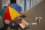 A lady protects herself from a mid-day summer summer sun with a brightly coloured parasol brolley. Oblivious to the viewer, she balances her lunch snack on her lap with toes pointing inwards, exposed to the hot solar rays. Meanwhile, she holds on tight to her eager pet poodle dog who is straining on its leash, wanting to go for a walk along the largely unpopulated promenade in this Devon resort, otherwise known as the English Riviera. But splashes of white paint (from the painted beach huts) have been left on the pavement. It is a horrible place to sit in the sun and her partner has left her alone to sit on her sun lounger, leaving the second chair vacant.