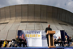 1st January, 2006. New Year's Day in New Orleans, Louisiana. Louisiana Rebirth interfaith service at the Superdome rings out the old disasterous 2005 and rings in what politicians and locals hope will be a successful 2006. Mayor Ray Nagin takes the podium with (from left) US Senator Mary Landrieu, Lieutenant Govenor Micth Landrieu and Govenor Kathleen Blanco in attendance along with local religious leaders.<br /> Photo; Charlie Varley/varleypix.com
