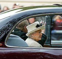 © Ben Cawthra. 31/10/2012. London, UK.  Britain's Queen Elizabeth II and Prince Philip, Duke of Edinburgh travel by car to Horseguards Parade for a ceremony to welcome Indonesian President Susilo Bambang Yudhoyono in central London on October 31, 2012. Indonesia's President Susilo Bambang Yudhoyono begins a three-day state visit to Britain, with officials keen to impress the emerging Asian power with a display of British pomp and pageantry. Photo credit: Ben Cawthra