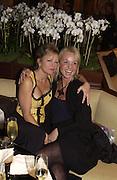 Kay Saatchi and Amanda Elliasch. Art Review party and Launch of the Lexmark European Art prize, Partk Hyatt, Paris. 27 October 2002. © Copyright Photograph by Dafydd Jones 66 Stockwell Park Rd. London SW9 0DA Tel 020 7733 0108 www.dafjones.com