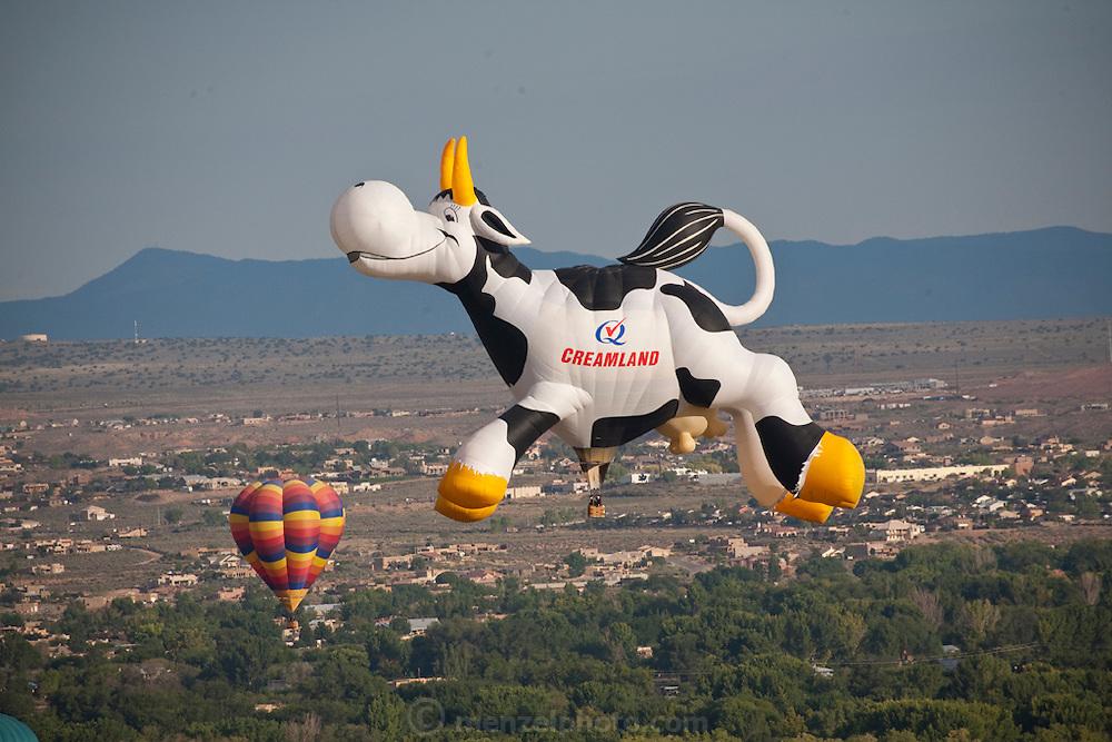 Creamland Dairy Cow. Albuquerque Balloon Fiesta, New Mexico. Mass assencion on Sunday morning at dawn of 500 hot air balloons.