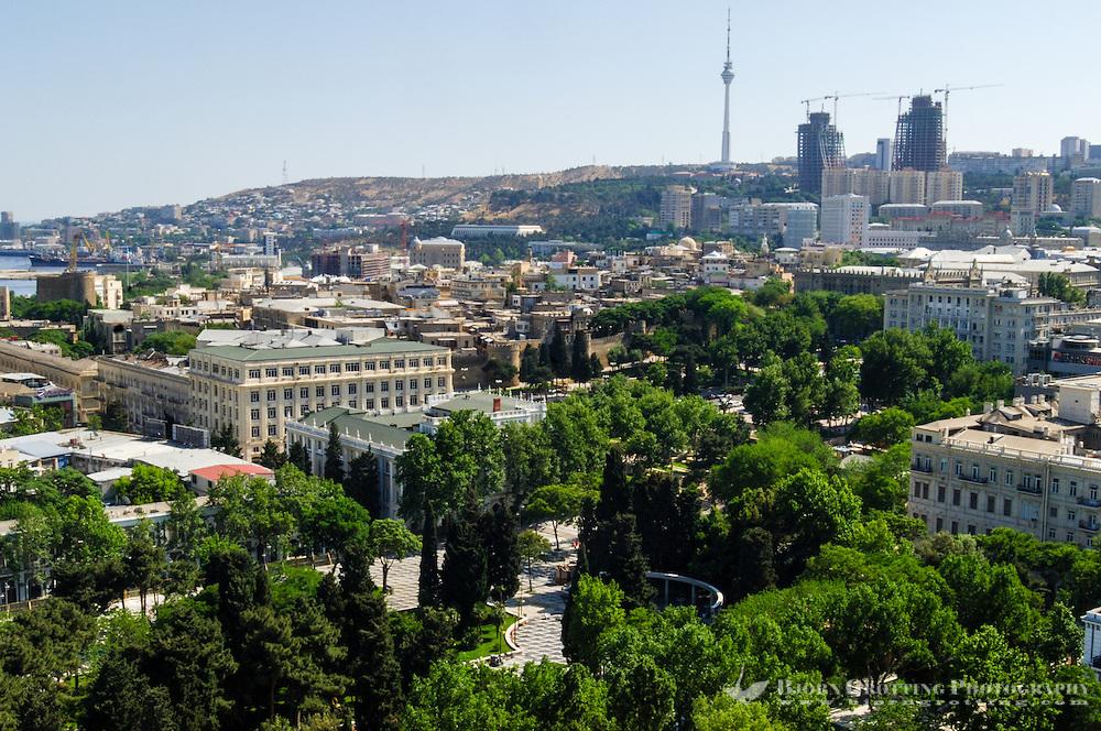 Azerbaijan, Baku. Baku city view. Flame Towers and Baku TV Tower in the background