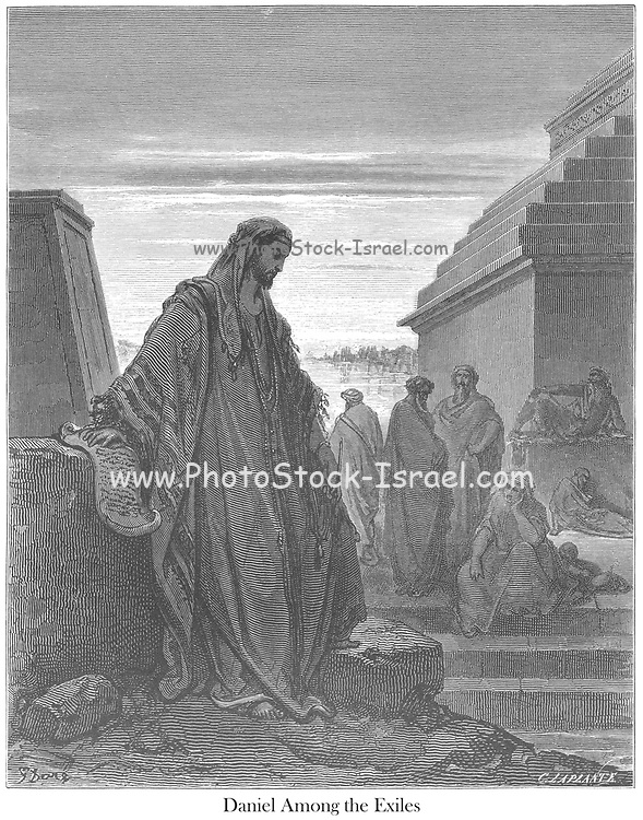 Daniel Daniel 2:20-21 From the book 'Bible Gallery' Illustrated by Gustave Dore with Memoir of Dore and Descriptive Letter-press by Talbot W. Chambers D.D. Published by Cassell & Company Limited in London and simultaneously by Mame in Tours, France in 1866