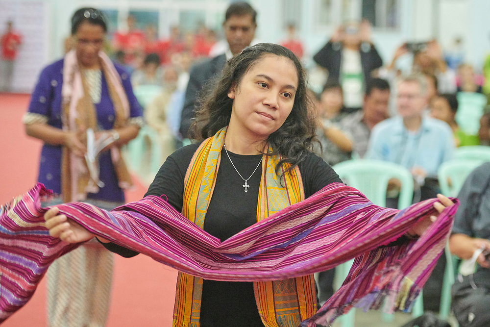 A liturgical dancer from Indonesia dances processes into the plenary session during the October 13, 2017, session of the Asia Mission Conference in Yangon, Myanmar.