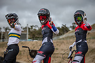 #68 (BUCHANAN Caroline) AUS, #110 (SMULDERS Laura) NED and #22 (SMULDERS Merel) NED at Round 3 of the 2020 UCI BMX Supercross World Cup in Bathurst, Australia.