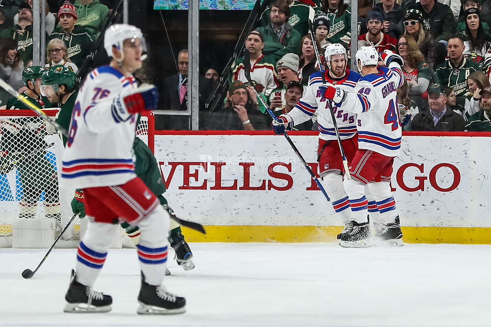 Feb 13, 2018; Saint Paul, MN, USA; New York Rangers forward Kevin Hayes (13) celebrates his goal with forward Michael Grabner (40) during the second period against the Minnesota Wild at Xcel Energy Center. Mandatory Credit: Brace Hemmelgarn-USA TODAY Sports