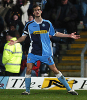Photo: Alan Crowhurst.<br />Wycombe Wanderers v Grimsby Town. Coca Cola League 2.<br />19/11/2005. <br />Roger Johnson celebrates his goal for Wycombe.