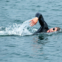 Fastest Swimmer Ryan Shannon arriving back at Liscannor Pier