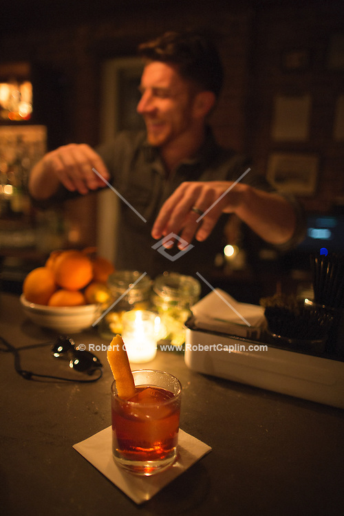 """The drink """"Old Pal Spenser"""" mixed by bartender Peter Vasconcellos at The Penrose, a restaurant and bar on New York's Upper East Side...Photo by Robert Caplin.."""