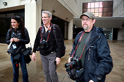 27 January 2014. New Orleans, Louisiana. <br /> Ted Jackson and crew outside Federal Court for the start of the Nagin trial.<br /> Ray Nagin, former mayor of New Orleans walks to Federal court surrounded by his lawyers and media as his corruption trial starts at the Federal Courthouse. Nagin is charged with 21counts of corruption including  bribery, conspiracy, money laundering and wire fraud. <br /> Photo; Charlie Varley
